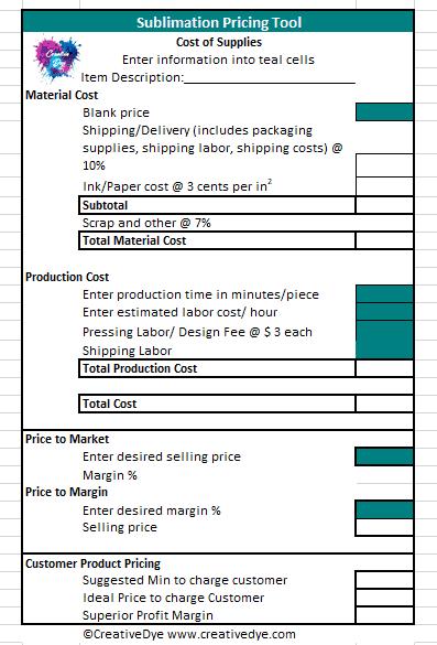 sublimation price calculator